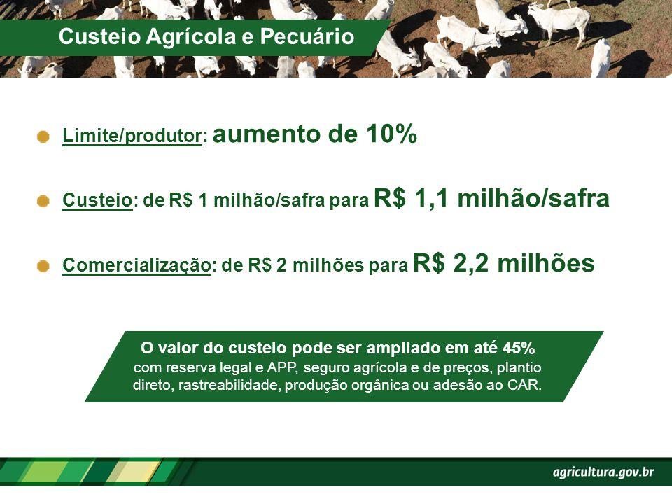 Limite/produtor: aumento de 10% Custeio: de R$ 1 milhão/safra para R$ 1,1 milhão/safra Comercialização: de R$ 2 milhões para R$ 2,2 milhões Custeio Ag
