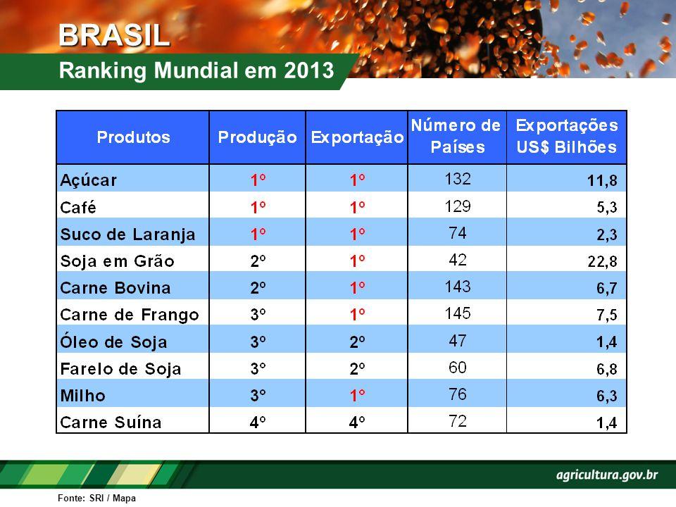 BRASIL Ranking Mundial em 2013 Fonte: SRI / Mapa