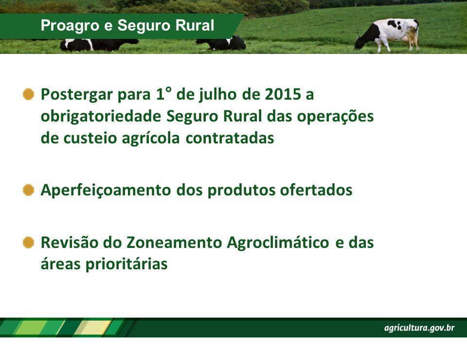 Proagro e Seguro Rural Postergar para 1° de julho de 2015 a obrigatoriedade Seguro Rural das operações de custeio agrícola contratadas Aperfeiçoamento