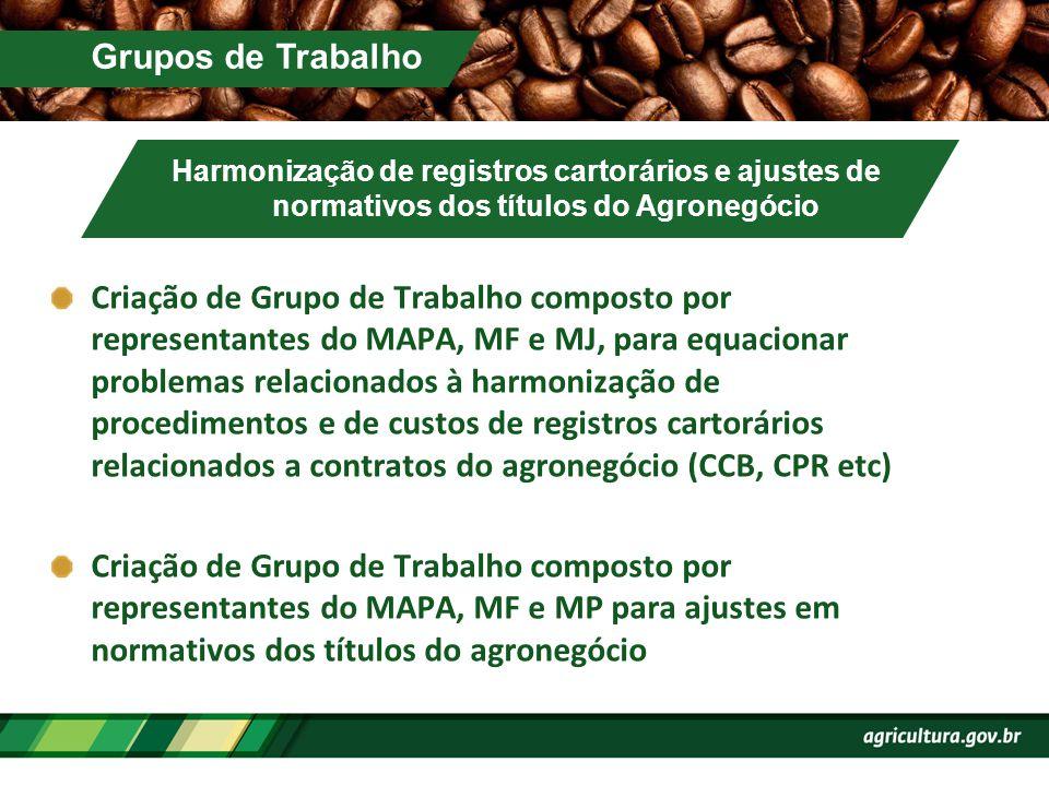 Grupos de Trabalho Harmonização de registros cartorários e ajustes de normativos dos títulos do Agronegócio Criação de Grupo de Trabalho composto por