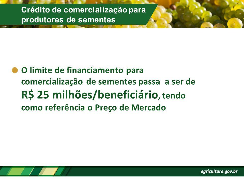 Crédito de comercialização para produtores de sementes O limite de financiamento para comercialização de sementes passa a ser de R$ 25 milhões/benefic