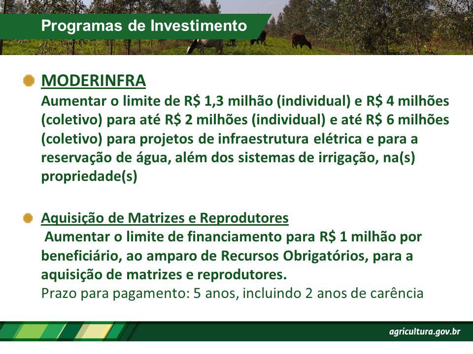 Programas de Investimento MODERINFRA Aumentar o limite de R$ 1,3 milhão (individual) e R$ 4 milhões (coletivo) para até R$ 2 milhões (individual) e at
