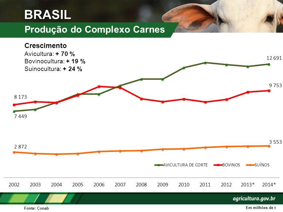 BRASIL Produção do Complexo Carnes Fonte: Conab Em milhões de t Crescimento Avicultura: + 70 % Bovinocultura: + 19 % Suinocultura: + 24 %