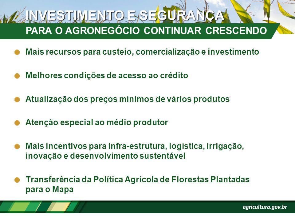 Mais recursos para custeio, comercialização e investimento Melhores condições de acesso ao crédito Atualização dos preços mínimos de vários produtos A