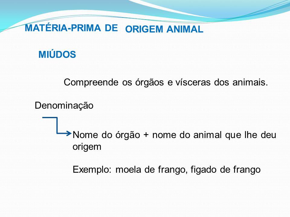 MATÉRIA-PRIMA DE MIÚDOS ORIGEM ANIMAL Compreende os órgãos e vísceras dos animais. Denominação Nome do órgão + nome do animal que lhe deu origem Exemp