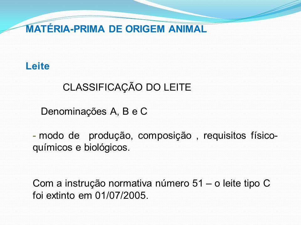 MATÉRIA-PRIMA DE ORIGEM ANIMAL Leite CLASSIFICAÇÃO DO LEITE Denominações A, B e C - modo de produção, composição, requisitos físico- químicos e biológ