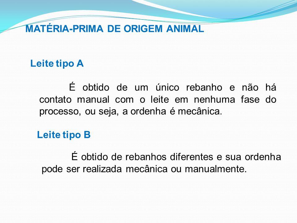 MATÉRIA-PRIMA DE ORIGEM ANIMAL Leite tipo B É obtido de um único rebanho e não há contato manual com o leite em nenhuma fase do processo, ou seja, a o