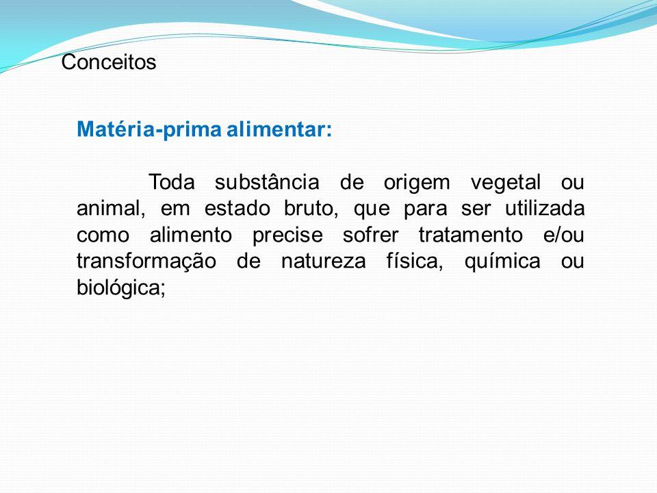 Conceitos Matéria-prima alimentar: Toda substância de origem vegetal ou animal, em estado bruto, que para ser utilizada como alimento precise sofrer t
