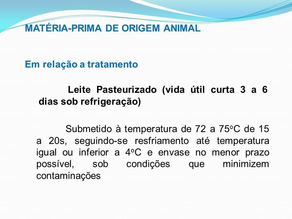 MATÉRIA-PRIMA DE ORIGEM ANIMAL Em relação a tratamento Leite Pasteurizado (vida útil curta 3 a 6 dias sob refrigeração) Submetido à temperatura de 72