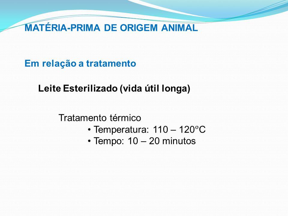 MATÉRIA-PRIMA DE ORIGEM ANIMAL Em relação a tratamento Leite Esterilizado (vida útil longa) Tratamento térmico Temperatura: 110 – 120C Tempo: 10 – 20