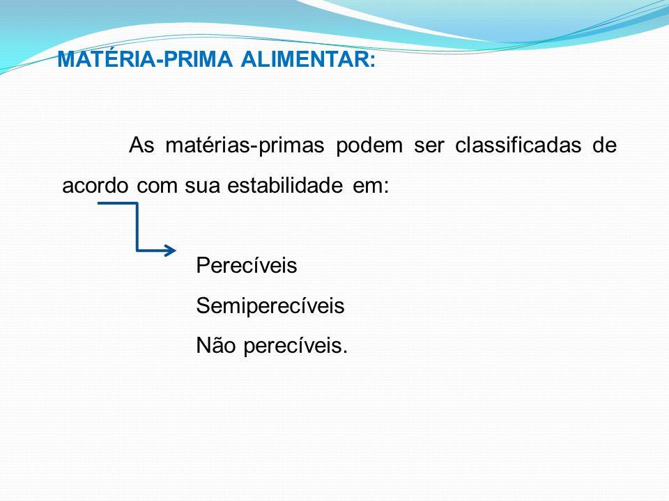 MATÉRIA-PRIMA ALIMENTAR: As matérias-primas podem ser classificadas de acordo com sua estabilidade em: Perecíveis Semiperecíveis Não perecíveis.
