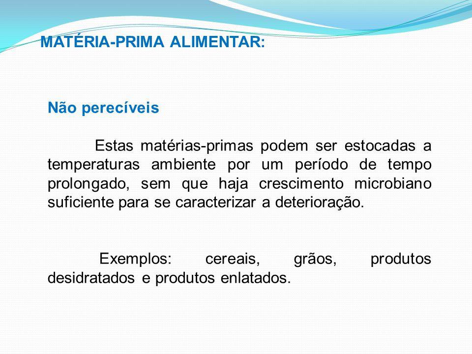 MATÉRIA-PRIMA ALIMENTAR: Não perecíveis Estas matérias-primas podem ser estocadas a temperaturas ambiente por um período de tempo prolongado, sem que