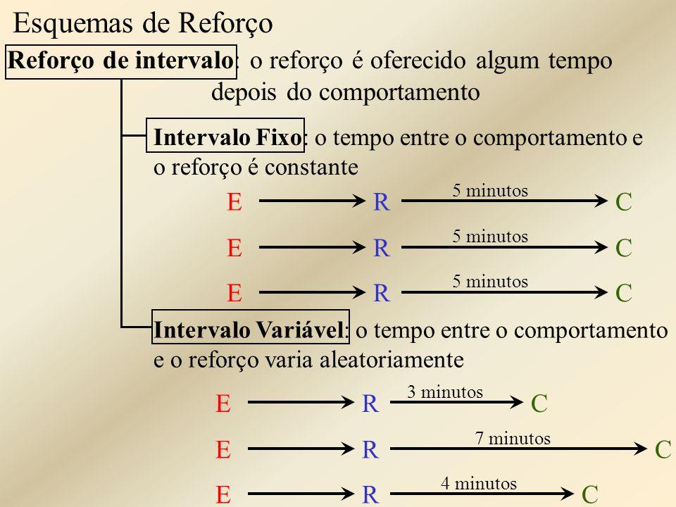 Esquemas de Reforço Reforço de intervalo: o reforço é oferecido algum tempo depois do comportamento Intervalo Fixo: o tempo entre o comportamento e o