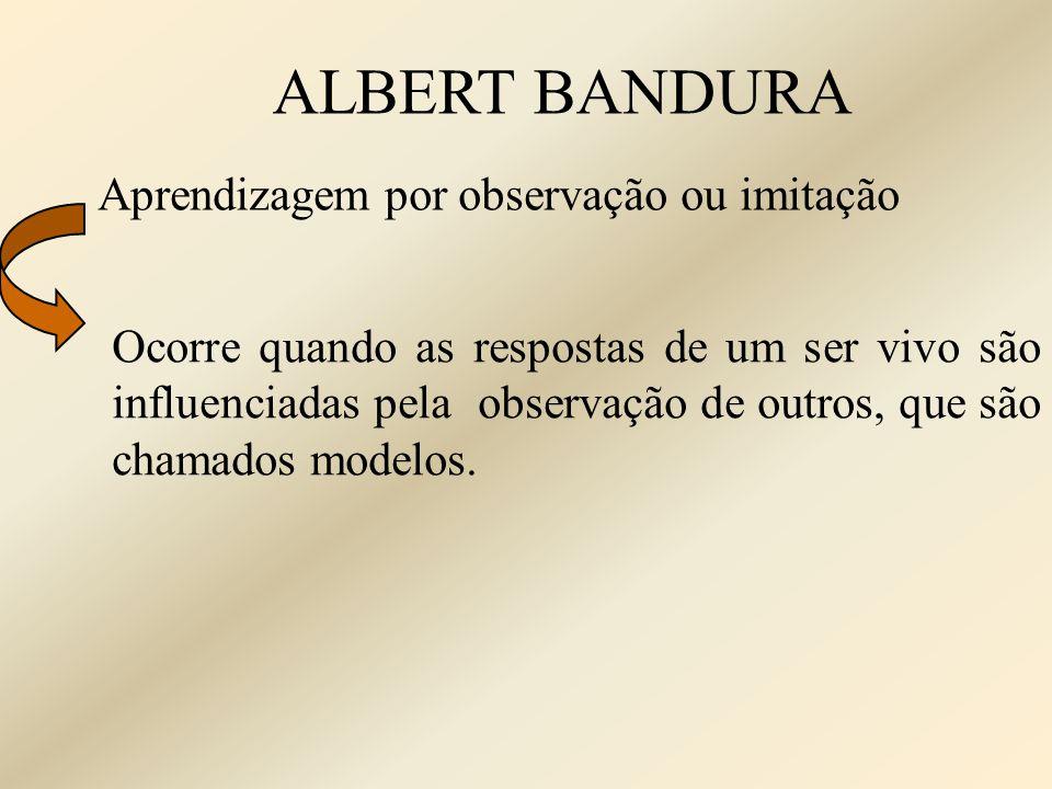 ALBERT BANDURA Aprendizagem por observação ou imitação Ocorre quando as respostas de um ser vivo são influenciadas pela observação de outros, que são