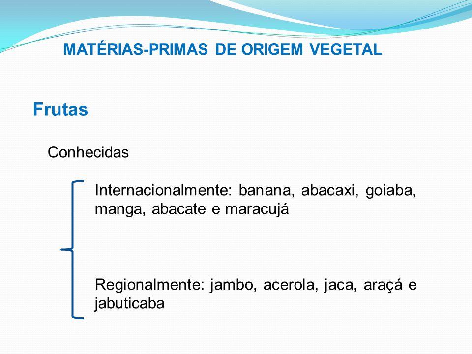 MATÉRIAS-PRIMAS DE ORIGEM VEGETAL Frutas Conhecidas Internacionalmente: banana, abacaxi, goiaba, manga, abacate e maracujá Regionalmente: jambo, acero
