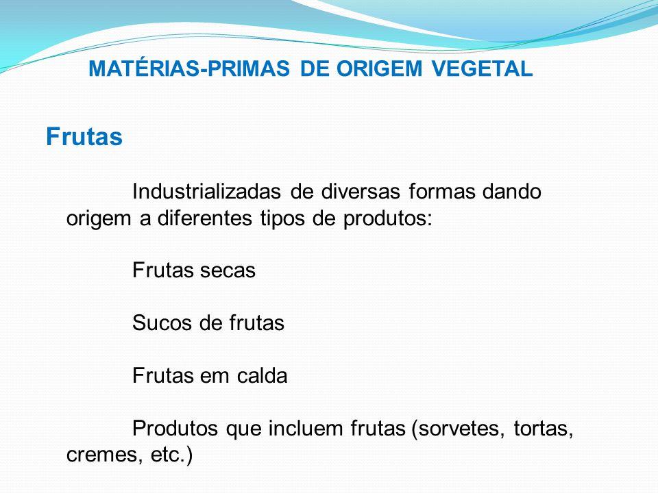 MATÉRIAS-PRIMAS DE ORIGEM VEGETAL Frutas Industrializadas de diversas formas dando origem a diferentes tipos de produtos: Frutas secas Sucos de frutas