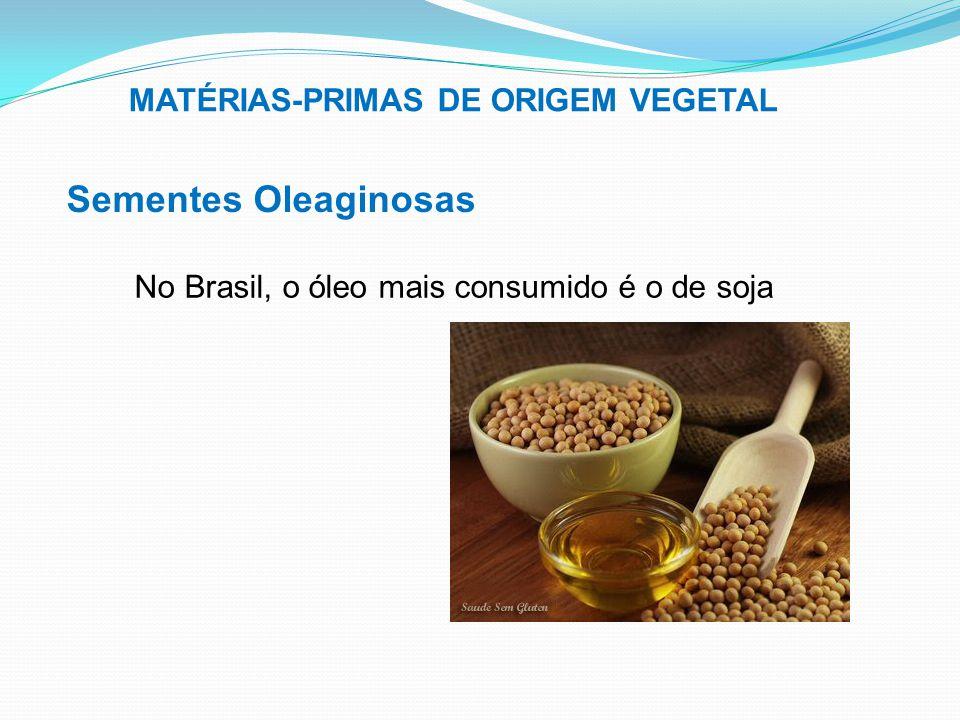MATÉRIAS-PRIMAS DE ORIGEM VEGETAL Sementes Oleaginosas No Brasil, o óleo mais consumido é o de soja