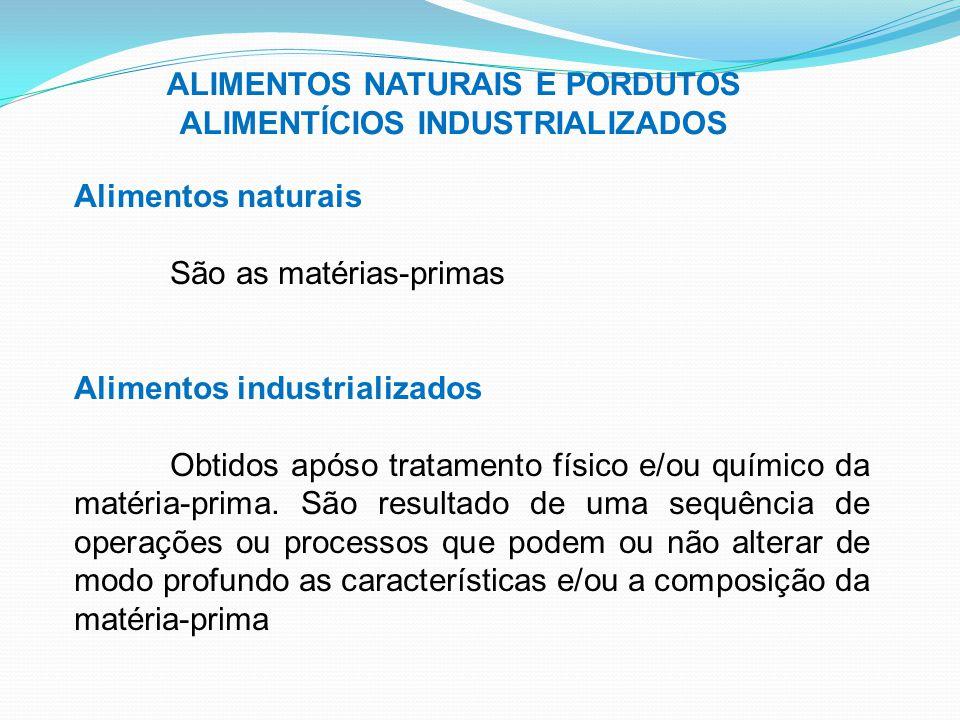 ALIMENTOS NATURAIS E PORDUTOS ALIMENTÍCIOS INDUSTRIALIZADOS Alimentos naturais São as matérias-primas Alimentos industrializados Obtidos apóso tratame