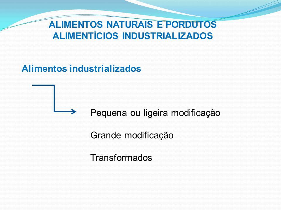 ALIMENTOS NATURAIS E PORDUTOS ALIMENTÍCIOS INDUSTRIALIZADOS Alimentos industrializados Pequena ou ligeira modificação Grande modificação Transformados