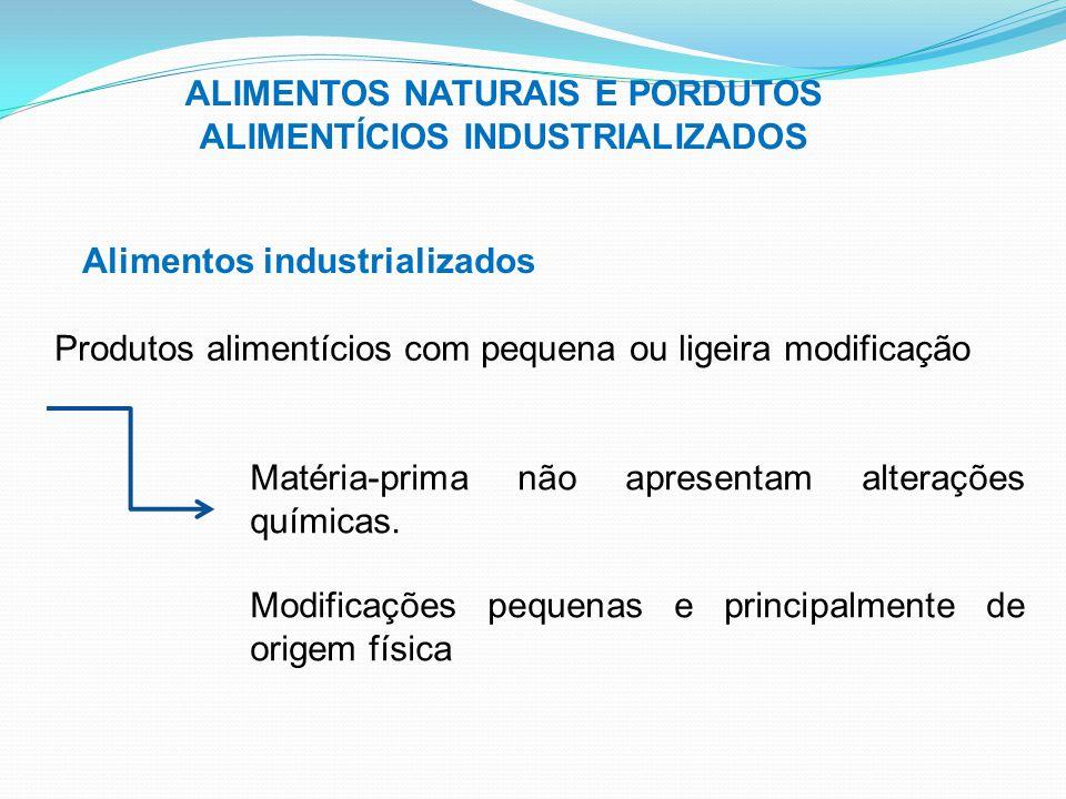 ALIMENTOS NATURAIS E PORDUTOS ALIMENTÍCIOS INDUSTRIALIZADOS Alimentos industrializados Produtos alimentícios com pequena ou ligeira modificação Matéri