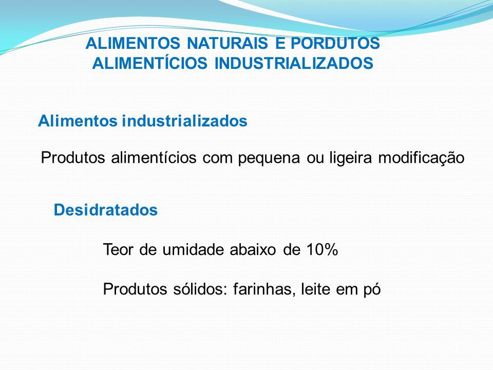 ALIMENTOS NATURAIS E PORDUTOS ALIMENTÍCIOS INDUSTRIALIZADOS Alimentos industrializados Produtos alimentícios com pequena ou ligeira modificação Desidr