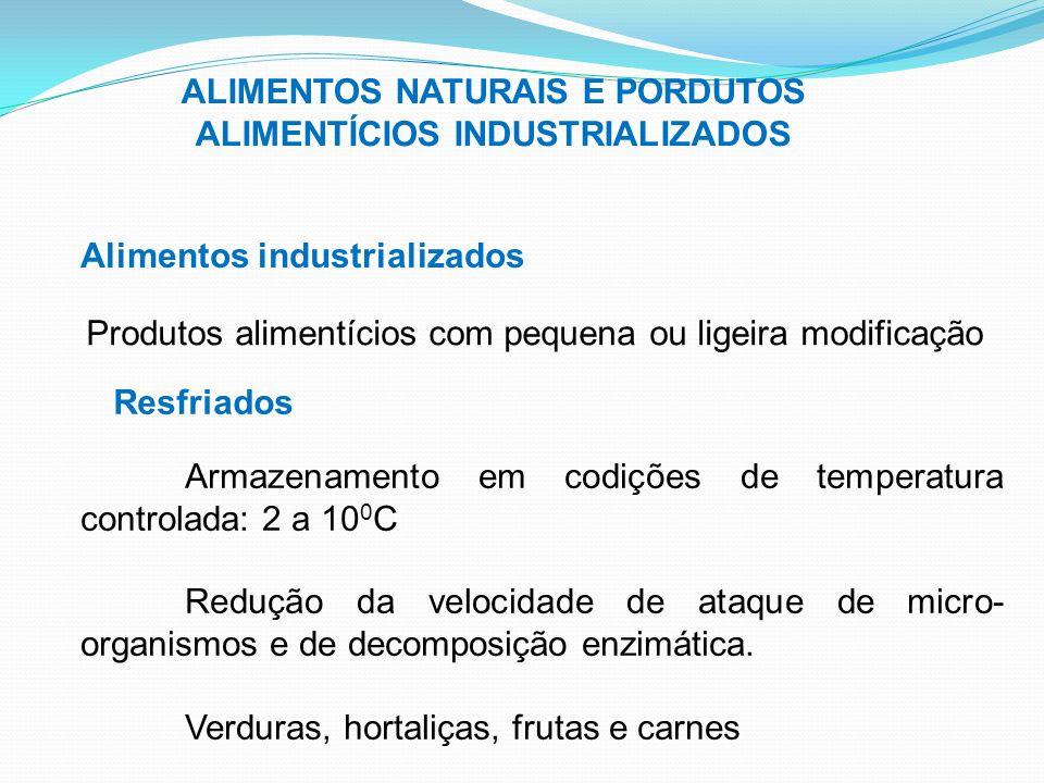 ALIMENTOS NATURAIS E PORDUTOS ALIMENTÍCIOS INDUSTRIALIZADOS Alimentos industrializados Produtos alimentícios com pequena ou ligeira modificação Resfri