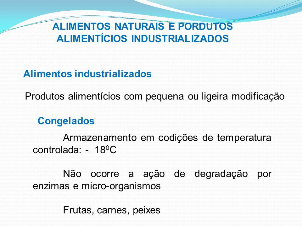 ALIMENTOS NATURAIS E PORDUTOS ALIMENTÍCIOS INDUSTRIALIZADOS Alimentos industrializados Produtos alimentícios com pequena ou ligeira modificação Congel
