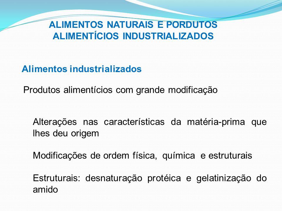 ALIMENTOS NATURAIS E PORDUTOS ALIMENTÍCIOS INDUSTRIALIZADOS Alimentos industrializados Produtos alimentícios com grande modificação Alterações nas car