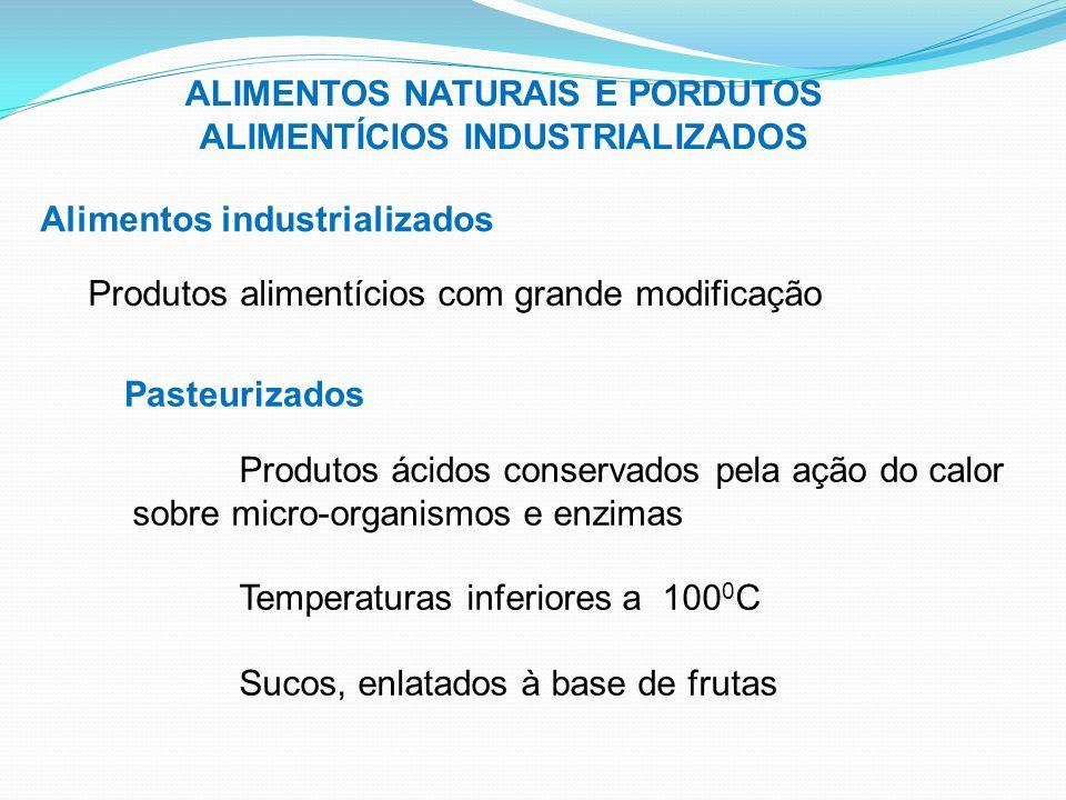 ALIMENTOS NATURAIS E PORDUTOS ALIMENTÍCIOS INDUSTRIALIZADOS Alimentos industrializados Produtos alimentícios com grande modificação Pasteurizados Prod
