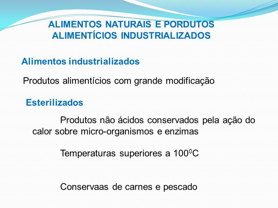 ALIMENTOS NATURAIS E PORDUTOS ALIMENTÍCIOS INDUSTRIALIZADOS Alimentos industrializados Produtos alimentícios com grande modificação Esterilizados Prod