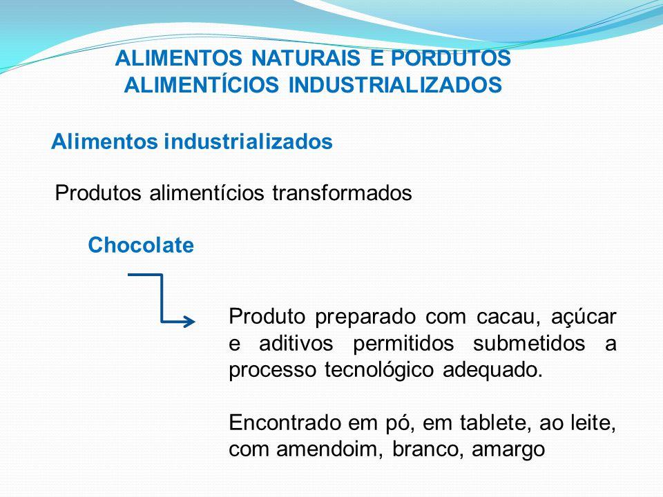ALIMENTOS NATURAIS E PORDUTOS ALIMENTÍCIOS INDUSTRIALIZADOS Alimentos industrializados Produtos alimentícios transformados Chocolate Produto preparado