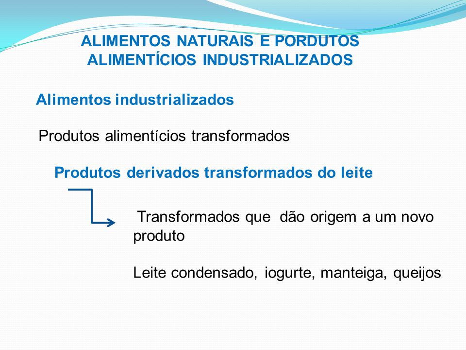 ALIMENTOS NATURAIS E PORDUTOS ALIMENTÍCIOS INDUSTRIALIZADOS Alimentos industrializados Produtos alimentícios transformados Produtos derivados transfor