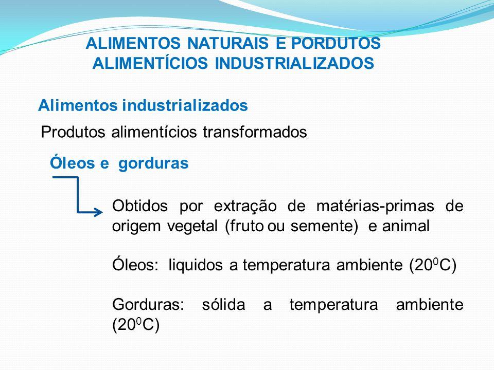 ALIMENTOS NATURAIS E PORDUTOS ALIMENTÍCIOS INDUSTRIALIZADOS Alimentos industrializados Produtos alimentícios transformados Óleos e gorduras Obtidos po