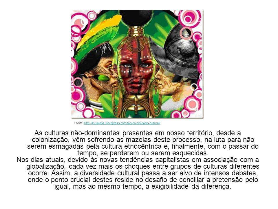 As culturas não-dominantes presentes em nosso território, desde a colonização, vêm sofrendo as mazelas deste processo, na luta para não serem esmagada