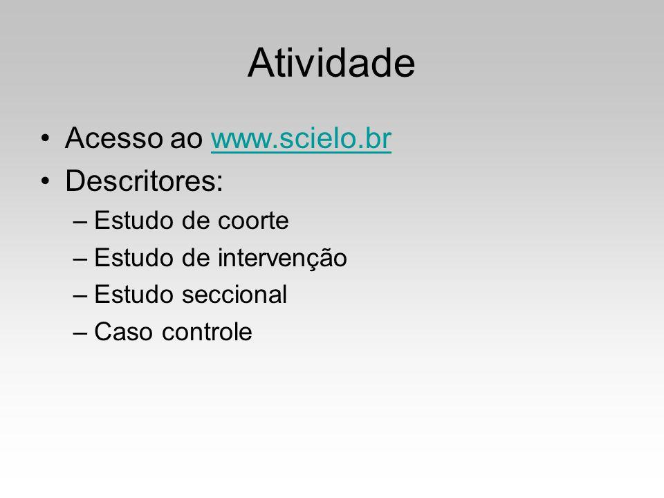 Atividade Acesso ao www.scielo.brwww.scielo.br Descritores: –Estudo de coorte –Estudo de intervenção –Estudo seccional –Caso controle