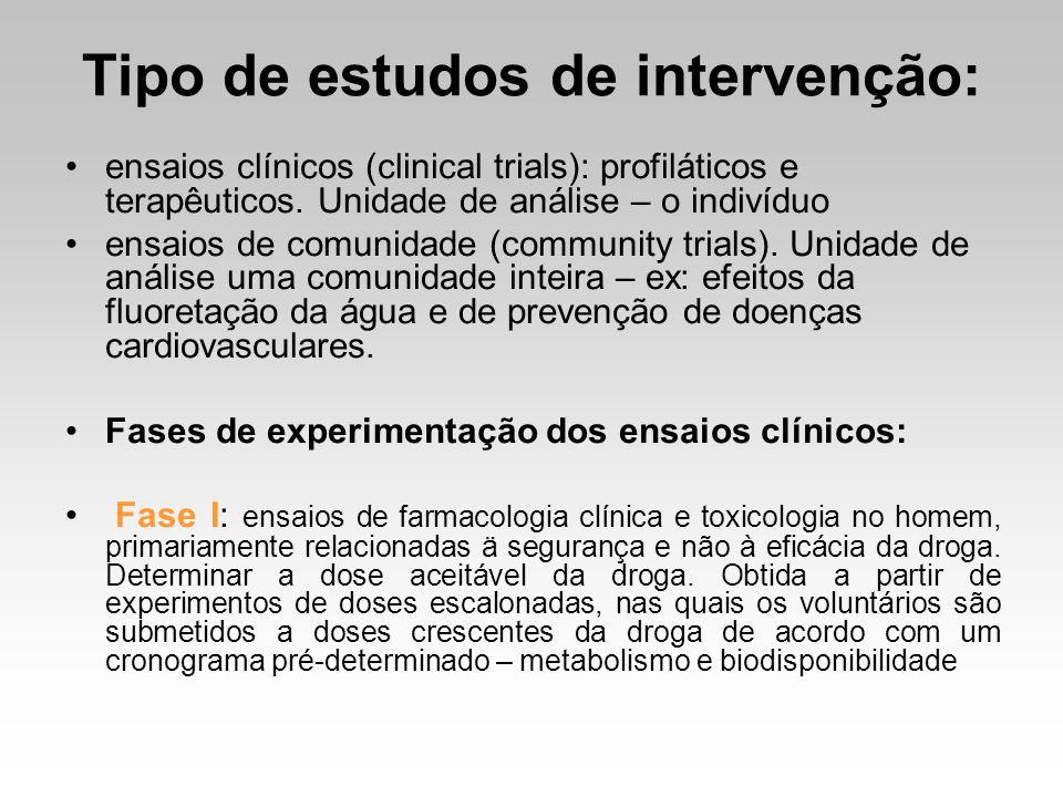 Tipo de estudos de intervenção: ensaios clínicos (clinical trials): profiláticos e terapêuticos. Unidade de análise – o indivíduo ensaios de comunidad