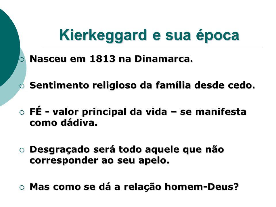 Kierkeggard e sua época  Nasceu em 1813 na Dinamarca.  Sentimento religioso da família desde cedo.  FÉ - valor principal da vida – se manifesta com
