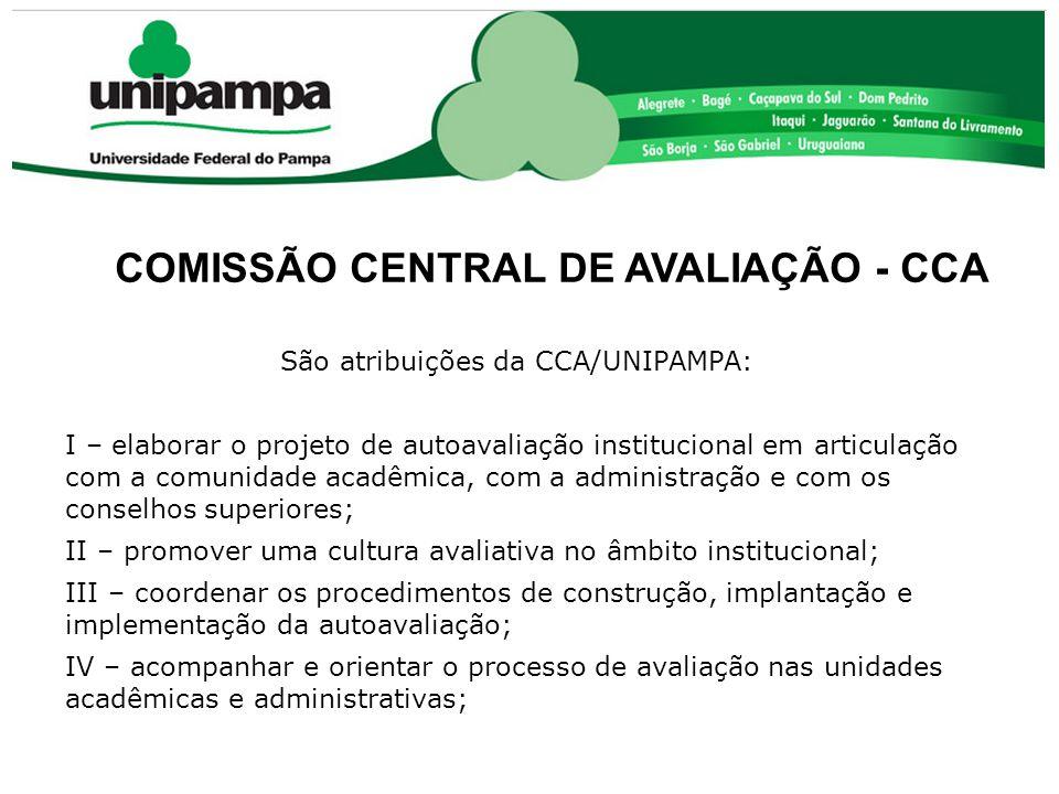 COMISSÃO CENTRAL DE AVALIAÇÃO - CCA São atribuições da CCA/UNIPAMPA: I – elaborar o projeto de autoavaliação institucional em articulação com a comuni