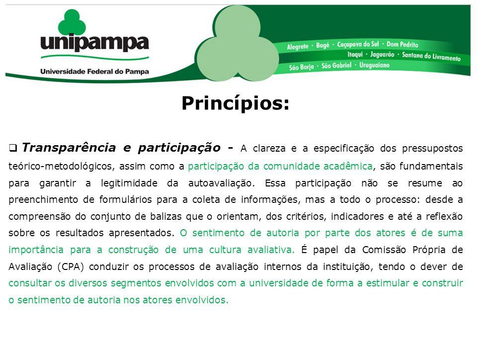 COMISSÃO PRÓPRIA DE AVALIAÇÃO (CPA) Princípios:  Transparência e participação - A clareza e a especificação dos pressupostos teórico-metodológicos, a
