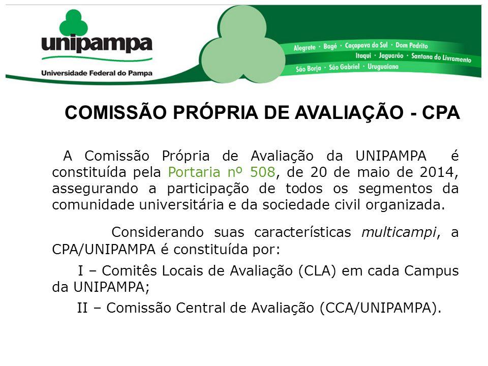 COMISSÃO PRÓPRIA DE AVALIAÇÃO - CPA A Comissão Própria de Avaliação da UNIPAMPA é constituída pela Portaria nº 508, de 20 de maio de 2014, assegurando