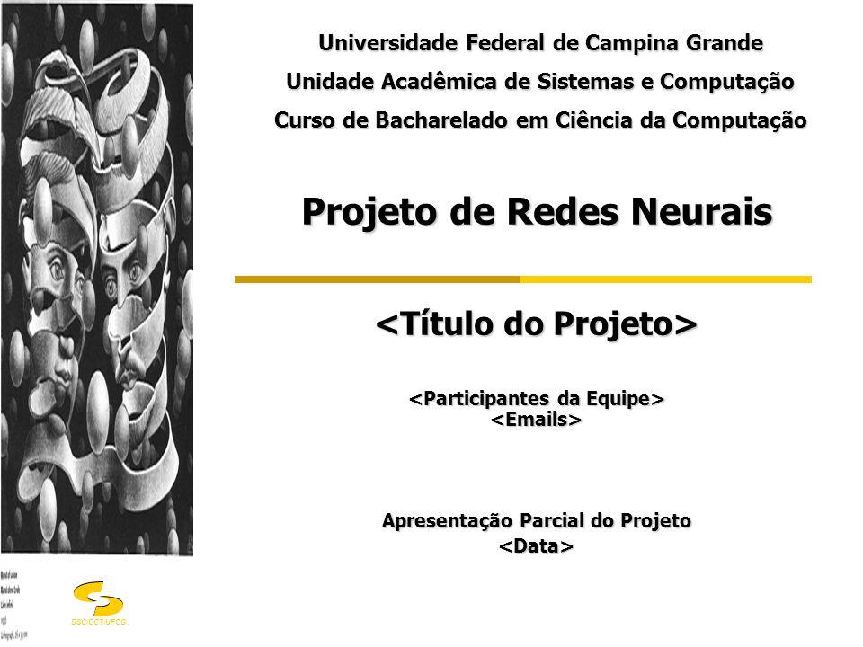 DSC/CCT/UFCG Projeto de Redes Neurais Apresentação Parcial do Projeto <Data> Universidade Federal de Campina Grande Unidade Acadêmica de Sistemas e Co