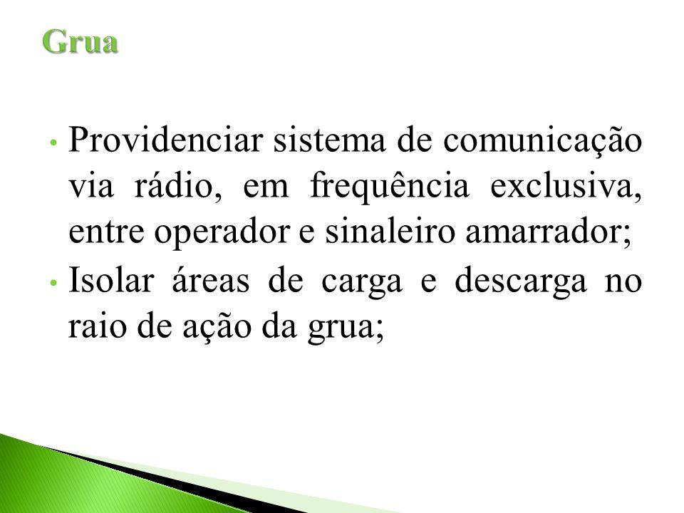 Providenciar sistema de comunicação via rádio, em frequência exclusiva, entre operador e sinaleiro amarrador; Isolar áreas de carga e descarga no raio