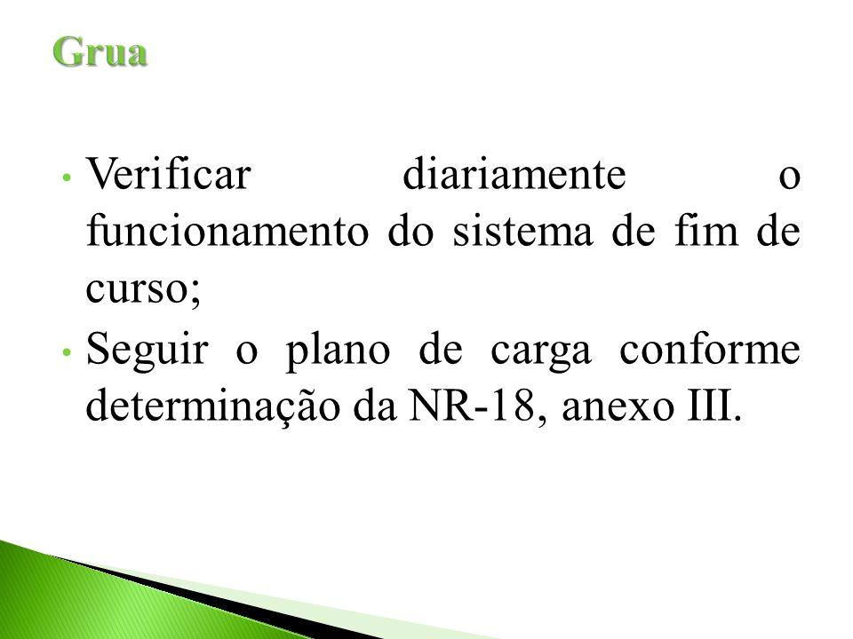 Verificar diariamente o funcionamento do sistema de fim de curso; Seguir o plano de carga conforme determinação da NR-18, anexo III.