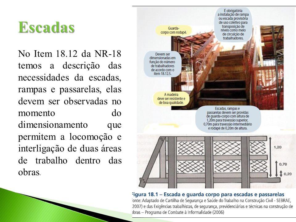 No Item 18.12 da NR-18 temos a descrição das necessidades da escadas, rampas e passarelas, elas devem ser observadas no momento do dimensionamento que
