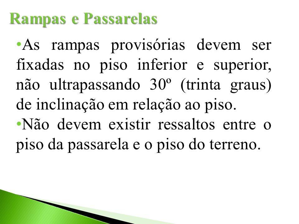 As rampas provisórias devem ser fixadas no piso inferior e superior, não ultrapassando 30º (trinta graus) de inclinação em relação ao piso. Não devem