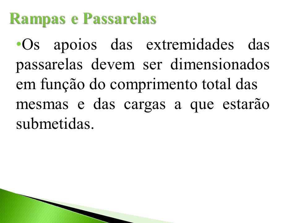 Os apoios das extremidades das passarelas devem ser dimensionados em função do comprimento total das mesmas e das cargas a que estarão submetidas.