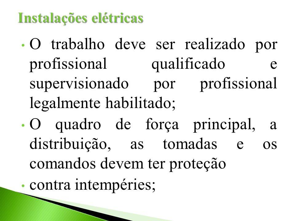 O trabalho deve ser realizado por profissional qualificado e supervisionado por profissional legalmente habilitado; O quadro de força principal, a dis