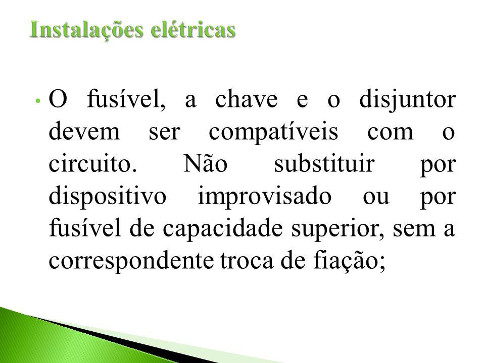 O fusível, a chave e o disjuntor devem ser compatíveis com o circuito. Não substituir por dispositivo improvisado ou por fusível de capacidade superio