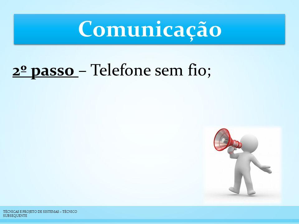 Comunicação 2º passo – Telefone sem fio; TÉCNICAS E PROJETO DE SISTEMAS – TÉCNICO SUBSEQUENTE