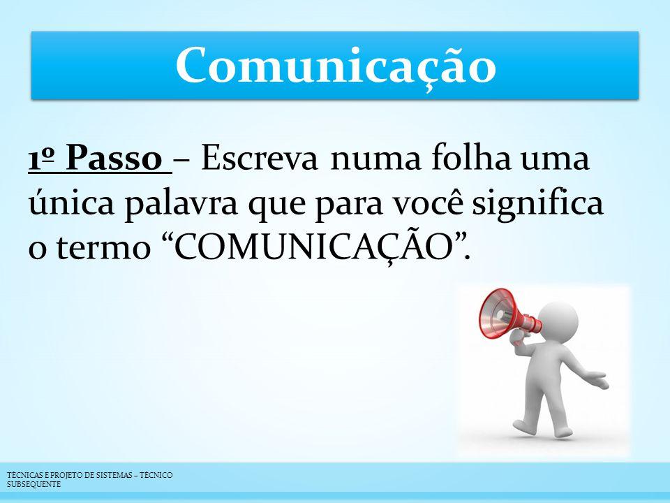 Comunicação 1º Passo – Escreva numa folha uma única palavra que para você significa o termo COMUNICAÇÃO .